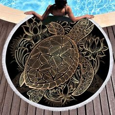 Give love to the sea with this beautiful sea turtle beach blanket! Carpet Sales: piece Cleaning Type: Hand Wash,Machine Washable Technics: Woven Pattern: Boho Pattern Type: Turtle Frame: No Style: Twill Shape: Round Turtle Beach, Turtle Love, Sea Turtle Gifts, Tribal Turtle, Microfiber Bath Towels, Turtle Jewelry, Large Beach Towels, Round Towels, Mandala