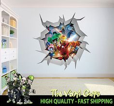 Lego Super Heroes Cracked Wall Full Colour Print Wall Art Sticker - Large superhero wall decals