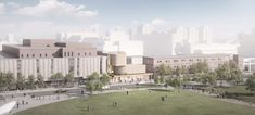 Rendering of the winning design, aerial view from across the Harry W. Arthurs Common. Image courtesy of Hariri Pontarini Architects.