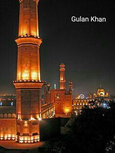 Fantastic other night view of the Badshahi Mosque historical city Lahore Punjab Pakistan