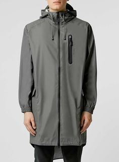 Rains Grey Parka Jacket - Topman