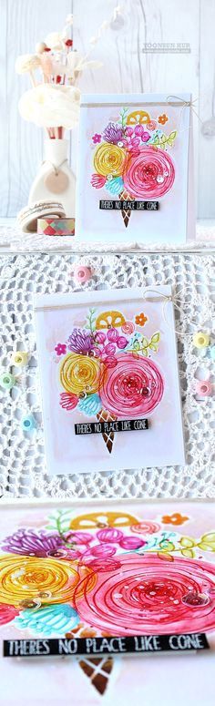 """RejoicingCrafts: A fun """"Flower Cone"""" card with Simon Says Stamp Sketch Ranunculus & Wild Beauty stamp sets I designed. #simonsaysstamp #flower #watercolor #cone"""