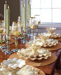 Parchment Check ceramic dinnerware by Mackenzie-Childs. So pretty!