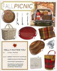 All your picnic must-haves: wool blankets, rustic tableware, lots of plaid, and baskets galore!
