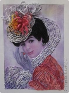 Woman - quilling  on top of a photo