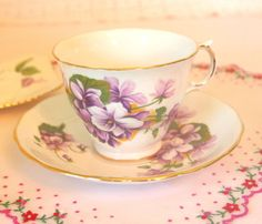 Vintage Tea Cup and Saucer Set with Purple by HouseofLucien