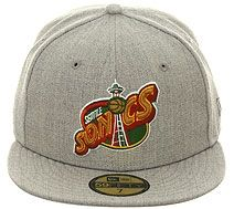 dd1163f6822 New Era 5950 Seattle Supersonics 1996 Fitted Hat - Heather Gray