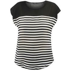 Black & White Stripe Woven Short Sleeve Top ($20) ❤ liked on Polyvore featuring tops, black, short-sleeve shirt, short sleeve tops, sheer top, see through tops and camisole tops