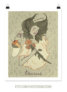 TAURUS print! Taureans love beauty and harmony in the realm of the senses. They're known for their powerful tempers and remarkable tenacity to their preferences. The print comes with the description and framing & handling instructions. Priced from $15/ea   Available in 3 sizes! From ZOZO -- Available on Etsy at Etsy.com/Shop/ZodiacZone.