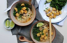 An umami rich vegan udon noodle soup full of veggies and topped with crispy oven baked chili & lime roasted tofu. A comforting and healthy broth filled with tender udon noodles is the perfect way to spend a chilly night. Tofu Noodles, Beef And Noodles, Tofu Recipes, Healthy Recipes, Noodle Recipes, Healthy Soups, Savoury Recipes, Chili Recipes, Diet Recipes