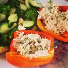 No carb dinner/meals- Stuffed peppers with tuna and dill with a side of steamed broccoli and zucchini! Yum!