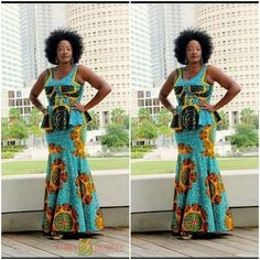 African Print Dress, Blue, Gold  And Brown Ankara Print Two Piece African Attire,African Green And Brown Two Piece Long Dress, Gift For Her