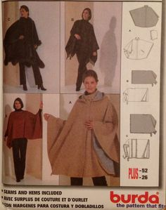 OUT-OF-PRINT, uncut Burda sewing pattern includes instructions and pattern pieces to make capes/ponchos with a detachable hood in sizes I Sewing Coat, Sewing Clothes, Diy Clothes, Burda Sewing Patterns, Clothing Patterns, Plus Size Patterns, Print Patterns, Cape Pattern, Plus Size Sewing