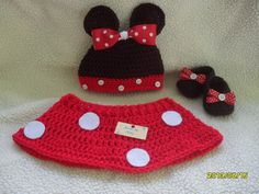 Photo prop  Crocheted Minnie Mouse set for baby by MadebyMily, $34.00