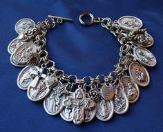 Religious Saint Medal Charm Bracelet (305b) Four Way Cross & More