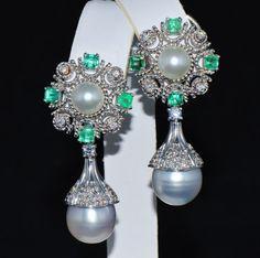 Emerald Earrings - Diamond Earrings - Certified 41CTS VVS E Diamond Emerald Pearl 18K Solid Gold 900 Platinum Dangle Estate 2 in 1 Earrings
