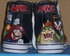 DIY Hand Painted Sneakers - Rachelle Williams Makes Super Mario Bros High-Tops
