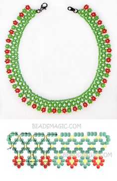 Free pattern for necklace Herbal - Best Pins Live - Free pattern for necklace Herbal – Best Pins Live Free pattern for necklace Herbal – Best Pins Live Diy Necklace Patterns, Seed Bead Patterns, Beading Patterns, Seed Bead Bracelets Tutorials, Bead Loom Bracelets, Beading Tutorials, Beaded Jewelry Designs, Bead Jewellery, Seed Bead Jewelry