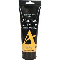 Grumbacher Academy Acrylic Paint Color: Yellow Ochre, Size: 2.54 oz