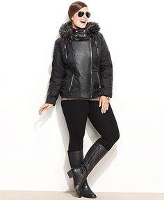 MICHAEL Michael Kors Plus Size Jacket, Faux-Fur Hood Faux-Leather Motorcycle - 5-Day Specials - Plus Sizes - Macy's