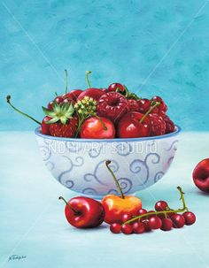 Kitchen Art Print Decor, Digital Instant Download, Strawberries and Cherries Oil Painting, Fruits Still Life Art, Home Decor Wall Art Print by NopiArtStudio on Etsy