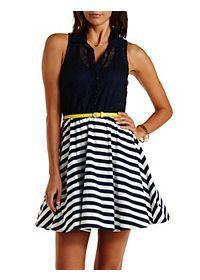 Belted Crochet & Striped Skater Dress