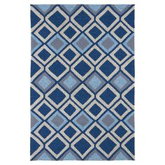 Anchor your living room seating group or define space in the den with this eye-catching rug, featuring a trellis motif in shades of blue.