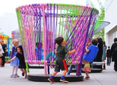 "Esrawe + Cadena's Toy-Inspired ""Los Trompos"" Installation,Courtesy of Discovery Green Conservancy"