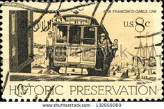 USA - CIRCA 1971: A stamp printed in United States of America shows Cable Car, San Francisco, series Historic Preservation Issue, circa 1971...