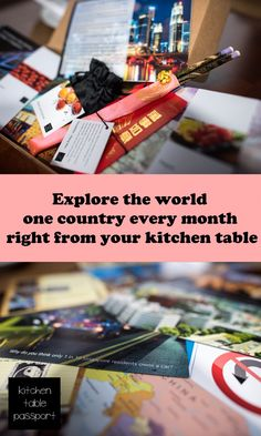 See, taste, touch, smell, and hear life in another country each month - all without leaving home! Your box of the month includes 10 cards with amazing photography and interesting facts, a unique herb and spice packet and a recipe to make that local dish, a shopping list for basics, a playlist, and hand-selected local mementos - all from people who have been there personally. You can travel without the ticket, and explore the world from your kitchen table!   www.kitchentablepassport.com