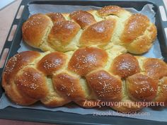 Greek Desserts, Greek Recipes, Challah, Hot Dog Buns, French Toast, Food And Drink, Bread, Cookies, Breakfast