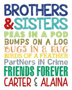 Brother and Sister Wall Art. Bro and Sis Sign. Brother and Sister Decor. Brother and Sister Wall Art. Sibling Wall by LittleLifeDesigns Boy And Girl Shared Room, Girl Room, Child's Room, Kids Room Wall Art, Room Wall Decor, Nursery Decor, Nursery Room, Nursery Ideas, Brother N Sister Quotes