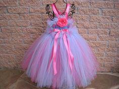 Tutu Dress, ICED BLUE and CORAL, Bit of Fluff Waist, Toddler Girls 1-4   ElsaSieron - Clothing on ArtFire