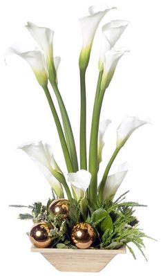 Flower arrangement ideas are the best choice if you like arranges flowers. Some people, especially women are loved to arrange flowers because it is fun to Modern Floral Arrangements, Christmas Floral Arrangements, Beautiful Flower Arrangements, Beautiful Flowers, Fleur Design, Christmas Flowers, Arte Floral, Flower Centerpieces, Calla Lily