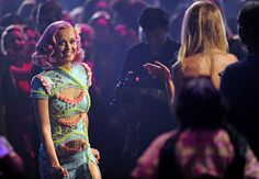 Katy Perry comes down from space and walks toward the stage to accept the Moonman for Best Collaboration for 'E.T.' at the 2011 MTV Video Music Awards in Los Angeles. | MTV Photo Gallery