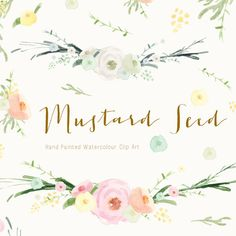 Clip Art - Hand Painted Watercolours - Mustard Seed Delicate watercolour flowers and leaves that will look great on so many projects. You will lots of individual elements to make your own combinations of unique artwork as well as a floral banner in two colour ways. Picture 3 shows a