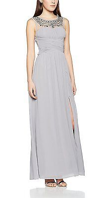 8, Grey (Grey), Little Mistress Women's Embellished Dress NEW