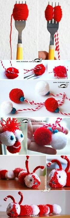 """Pom pom with fork! *** Pom, pom con tenedor Thank you very much for your visit """"BLESSING"""". Pom Pom Crafts, Yarn Crafts, Fabric Crafts, Diy And Crafts, Crafts For Kids, Arts And Crafts, Craft Tutorials, Craft Projects, Projects To Try"""
