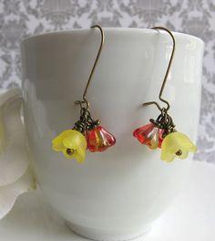 Fuchsia Pink Citric Lemon Yellow Czech glass Lucite Bell Flowers Raw Brass Nature Garden Earrings. Floral Accessories