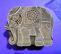 Elephant Large Hand Carved Wood Stamp Animal Indian Textile Fabric Clay Pottery Print Block