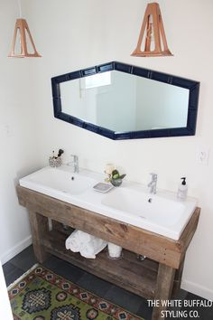 DIY Rustic Worktable Vanity and DIY Copper Pendant Lights from thewhitebuffalostylingco.com