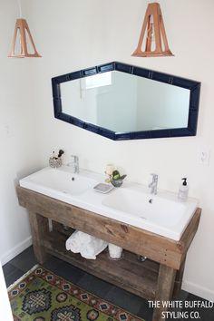 Rustic Worktable Vanity #rustic #bathroom