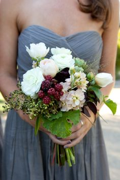 Bouquet and color of the dress. bridal bouquet with blackberries, white ranunculus, privet berry, pink stock, scented geranium. Floral Wedding, Fall Wedding, Wedding Bouquets, Wedding Flowers, Dream Wedding, Bouquet Flowers, Boquet, Bridesmaid Bouquets, Wedding Pins