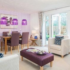 A strong colour scheme will make a statement in any room. Purple is a great colour to choose, as this will look good in the summer or winter seasons. #LivingRoom #DiningRoom #Purple #Home #InteriorDesign #InteriorDesignIdea #Inspiration #TaylorWimpey