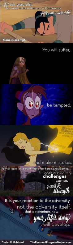 Disney quotes - Your Happily Ever After by Dieter F Uchtdorf Video featuring Disney Princesses + Free Handout Mormon Quotes, Lds Quotes, Uplifting Quotes, Cute Quotes, Inspirational Quotes, Motivational, Funny Quotes, Funny Memes, Disney Memes