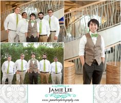 Cape Coral Yacht Club Ballroom   Cape Coral Wedding Photographer   Jamie Lee Photography   Groom and Groomsmen   White Shirts Tan Pants Green Ties   Green Bowtie and Tan Vest