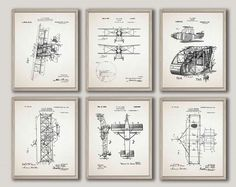 Airplane Poster Airplane Blueprints Set of 6 Airplane Decor Gift For Pilot Airplane Prints Airplane Wall Art Airplane Pilot Gift by WallBuddy on Etsy Airplane Wall Art, Airplane Decor, Airplane Pilot, Vintage Images, Vintage Posters, Museum Poster, Pilot Gifts, Color Depth, Unique Wall Art