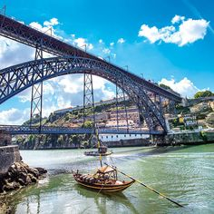 Picture of Oporto or Porto city skyline, Douro river, traditional boats and Dom Luis or Luiz iron bridge Portugal, Europe stock photo, images and stock photography. Portugal Nord, Visit Portugal, Douro Portugal, Portugal Travel, Portugal Trip, Porto City, Destinations, Photos, Pictures