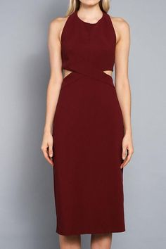 Let your body do all the talking in the Body Language Tie-Back Burgundy Halter Bodycon Midi Dress. Medium weight knit shapes this dress with a rounded neckline, to a sleeveless princess seamed bodice. Fitted waist with chic side cutouts. Short Dresses, Halter Dresses, Long Gowns, Fall Dresses, Formal Dresses, Event Dresses, Dinner Dresses, Party Dresses, Weekend Fashion