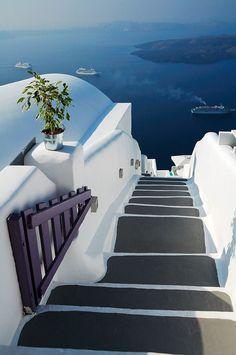 the stairs of Santorini Island